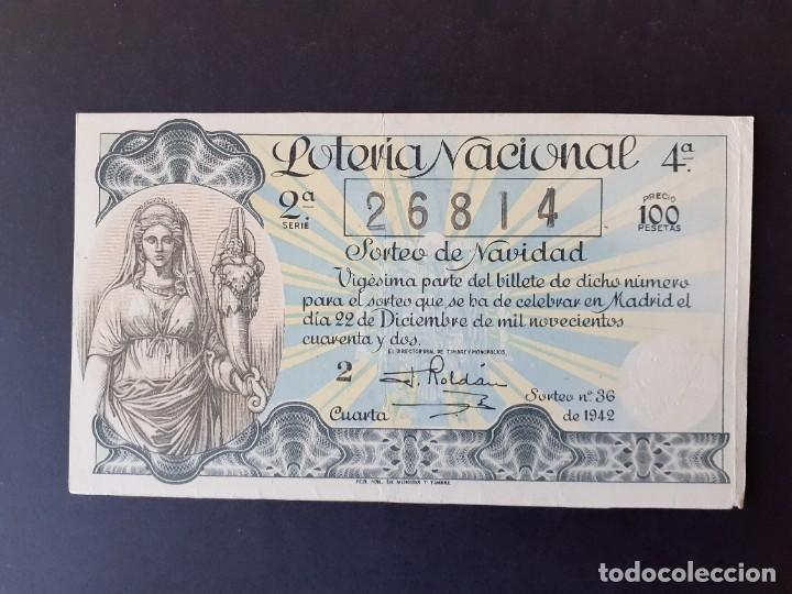 423605 LOTERIA NACIONAL, AÑO 1942 SORTEO 36 (Coleccionismo - Lotería Nacional)