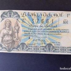 Lotería Nacional: LOTERIA NACIONAL, AÑO 1942 SORTEO 36 ( D - 0445 ). Lote 195338461