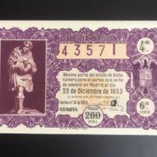 Lotería Nacional: LOTERIA AÑO 1953 SORTEO 36 NAVIDAD. Lote 195369681
