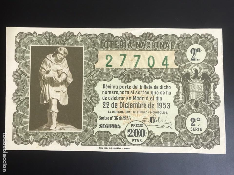 LOTERIA AÑO 1953 SORTEO 36 NAVIDAD (Coleccionismo - Lotería Nacional)