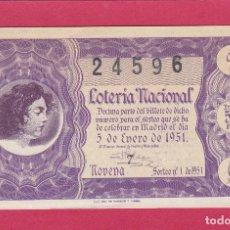Lotería Nacional: LOTERIA NACIONAL SORTEO 1 DE 1951. Lote 195495850