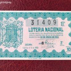 Lotería Nacional: LOTERIA AÑO 1952 SORTEO 3. Lote 195531105