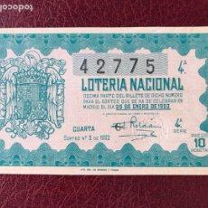 Lotería Nacional: LOTERIA AÑO 1952 SORTEO 3. Lote 195531126
