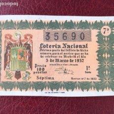 Lotería Nacional: LOTERIA AÑO 1952 SORTEO 7. Lote 195531147