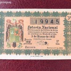 Lotería Nacional: LOTERIA AÑO 1952 SORTEO 7. Lote 195531195