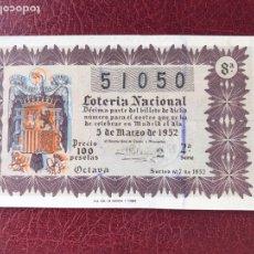 Lotería Nacional: LOTERIA AÑO 1952 SORTEO 7. Lote 195531266