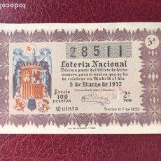 Lotería Nacional: LOTERIA AÑO 1952 SORTEO 7. Lote 195531276