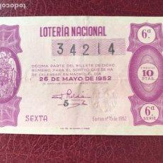 Lotería Nacional: LOTERIA AÑO 1952 SORTEO 15. Lote 195531431