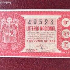 Lotería Nacional: LOTERIA AÑO 1952 SORTEO 16. Lote 195531461