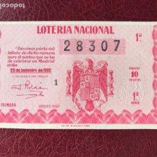 Lotería Nacional: LOTERIA AÑO 1952 SORTEO 27. Lote 195531593