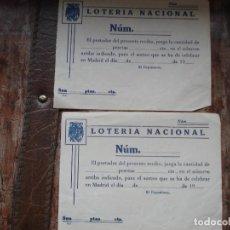 Lotería Nacional: DOS PAPELETAS SIN RELLENAR AÑOS 40 PARA PARTICIPACION LOTERIA. Lote 195642632