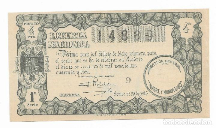 LOTERIA NACIONAL SORTEO N° 20 DE 1943 (Coleccionismo - Lotería Nacional)