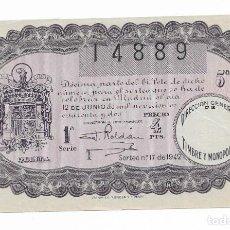 Lotería Nacional: LOTERIA NACIONAL SORTEO N° 17 DE 1942. Lote 195658987