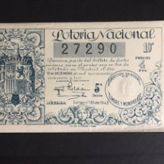 Lotaria Nacional: LOTERIA AÑO 1943 SORTEO 35. Lote 195942446