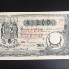 Lotaria Nacional: LOTERIA AÑO 1940 SORTEO 31. Lote 196165515