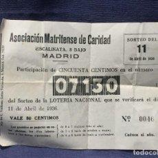 Lotería Nacional: ASOCIACION MATRITENSE DE CARIDAD MADRID PARTICIPACION SORTEO LOTERIA NACIONAL 11 ABRIL 1936 11X16CMS. Lote 196449128