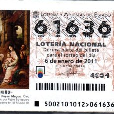 Lotería Nacional: LOTERÍA NACIONAL DEL SÁBADO - AÑO 2011 COMPLETO. Lote 196604446