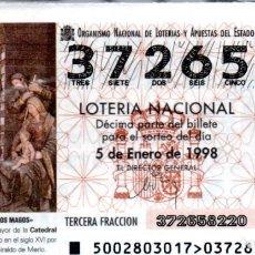Lotería Nacional: LOTERÍA NACIONAL DEL SÁBADO - AÑO 1998 COMPLETO. Lote 196604938