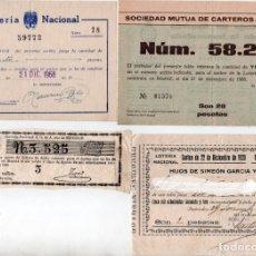 Lotería Nacional: INTERESANTE LOTE DE LOTERÍA NACIONAL DE 1853, 1920 HIJOS DE SIMEÓN GARCÍA Y 1968. Lote 197259626