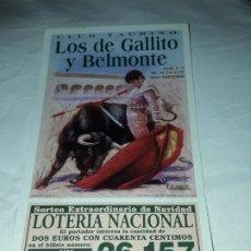 Lotería Nacional: LOTERÍA NACIONAL CLUB TAURINO SORTEO EXTRAORDINARIO DE NAVIDAD AÑO 2002. Lote 197435578