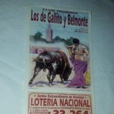 Lotería Nacional: LOTERÍA NACIONAL CLUB TAURINO SORTEO EXTRAORDINARIO DE NAVIDAD COMERCIAL JAMONES HINOJOSA AÑO 2001. Lote 197437830