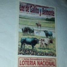 Lotería Nacional: LOTERÍA NACIONAL CLUB TAURINO SORTEO EXTRAORDINARIO DE NAVIDAD COMERCIAL JAMONES HINOJOSA AÑO 2001. Lote 197438507