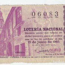Loterie Nationale: LOTERÍA NACIONAL - SORTEO Nº 17 DEL AÑO 1965 - CATEDRAL Y HOSPITAL SANTO DOMINGO DE LA CALZADA . Lote 197655008