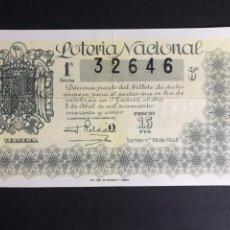 Lotería Nacional: LOTERIA AÑO 1945 SORTEO 10. Lote 197663192