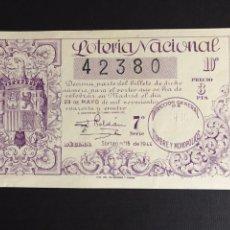 Lotería Nacional: LOTERIA AÑO 1944 SORTEO 15. Lote 197710123