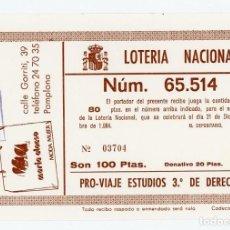 Lotería Nacional: PARTICIPACIÓN EN LOTERÍA NAVIDAD 1984 VIAJE ESTUDIOS 3º DERECHO UNIVERSIDAD NAVARRA. Lote 198177352