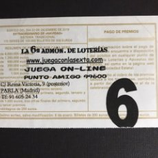 Loterie Nationale: LOTERIA ADMINISTRACIÓN 6 PARLA (MADRID). Lote 198228853