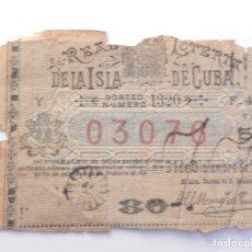 Lotería Nacional: LOTERIA CUBA 31 DICIEMBRE 1889. Lote 198562547