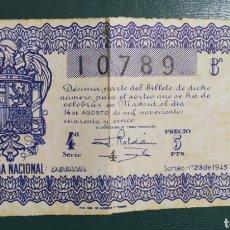 Lotería Nacional: LOTERÍA NACIONAL 1945 - 4SERIE. Lote 198567568