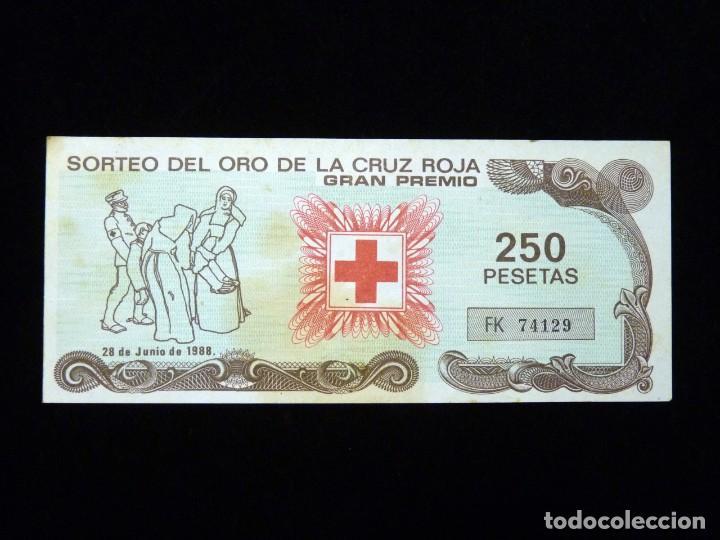 BILLETE SORTEO DEL ORO DE LA CRUZ ROJA. GRAN PREMIO 1988 (Coleccionismo - Lotería Nacional)