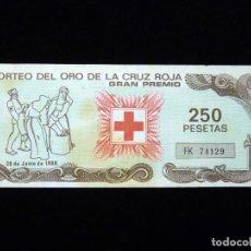 Lotería Nacional: BILLETE SORTEO DEL ORO DE LA CRUZ ROJA. GRAN PREMIO 1988. Lote 199402468