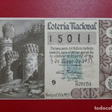 Lotteria Nationale Spagnola: DECIMO LOTERIA AÑO 1953 EL DE LA FOTO. Lote 199694251