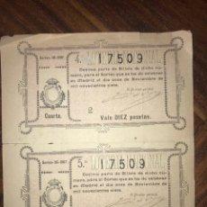 Lotería Nacional: 2 DÉCIMOS DEL 11 DE NOVIEMBRE DE 1907. ADMINISTRACIÓN DE INDEPENDENCIA ZARAGOZA. Lote 200514645