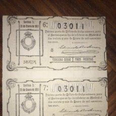 Lotería Nacional: 2 DÉCIMOS DEL 31 DE ENERO DE 1911. ADMINISTRACIÓN DE HORTALEZA MADRID.. Lote 200514792