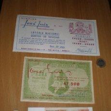 Lotería Nacional: LOTERÍA DE NAVIDAD,LOTE DE 3 PAPELETAS MUY ANTIGUAS,1962,1980 Y 1990.. Lote 225316347