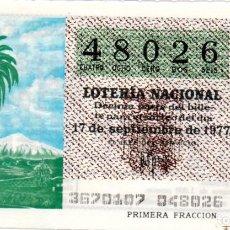 Lotería Nacional: LOTERÍA NACIONAL - AÑO 1977 - SORTEO 36/77 - TENERIFE. EL TEIDE -. Lote 201272486