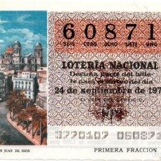 Lotería Nacional: LOTERÍA NACIONAL - AÑO 1977 - SORTEO 37/77 - CÁDIZ. PLAZA DE SAN JUAN DE DIOS -. Lote 201272518