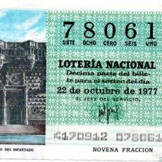 Lotería Nacional: LOTERÍA NACIONAL - AÑO 1977 - SORTEO 41/77 - GUADALAJARA. PALACIO DEL INFANTADO -. Lote 201272656