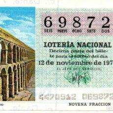 Lotería Nacional: LOTERÍA NACIONAL - AÑO 1977 - SORTEO 44/77 - SEGOVIA. ACUEDUCTO -. Lote 201272782