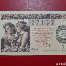 Lotteria Nationale Spagnola: DECIMO LOTERIA AÑO 1946 EL DE LA FOTO. Lote 201668430