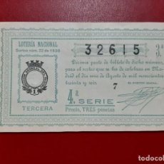 Lotería Nacional: DECIMO LOTERIA AÑO 1936 EL DE LA FOTO. Lote 201673208