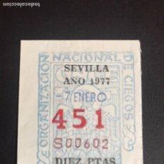 Lotería Nacional: LOTERÍA CUPON ONCE AÑO 1977 SEVILLA. Lote 202099115