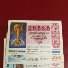 Lotería Nacional: LOTERIA 1982 VARIOS SORTEOS - 4 DECIMOS - MUNDIAL DE FUTBOL. Lote 210844019