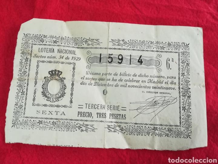 LOTERÍA NACIONAL DE 1929 ( SORTEO N° 34) (Coleccionismo - Lotería Nacional)