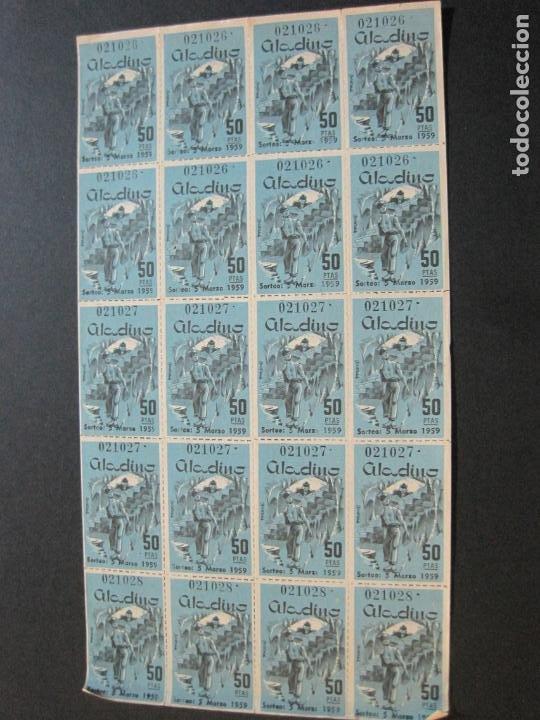 Lotería Nacional: ALADINO-HOJAS COMPLETAS DE CUPONES PARA SORTEO-1958 1959-50,25,10, 5 PTAS-VER FOTOS-(V-19.790) - Foto 2 - 202975101