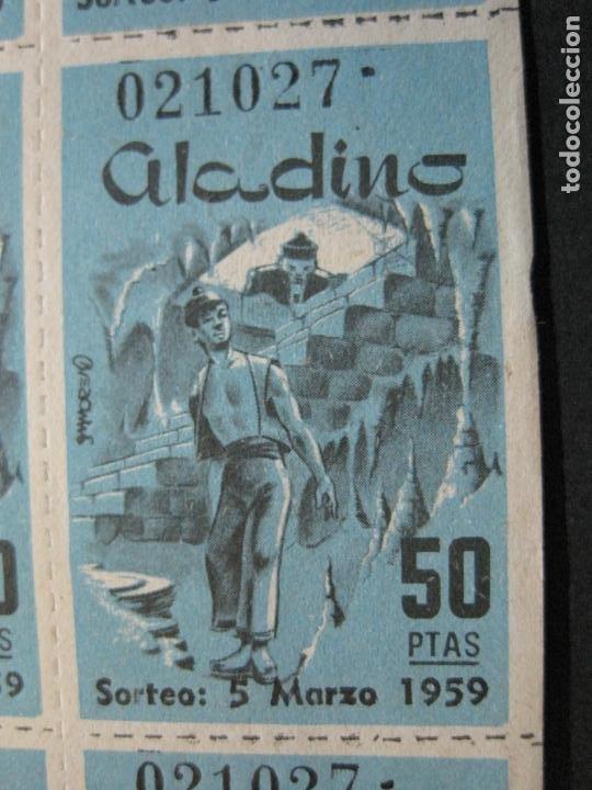 Lotería Nacional: ALADINO-HOJAS COMPLETAS DE CUPONES PARA SORTEO-1958 1959-50,25,10, 5 PTAS-VER FOTOS-(V-19.790) - Foto 3 - 202975101